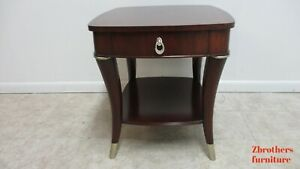 Thomasville Bogart End Lamp Table One Drawer Mahogany Inlay Living Room A
