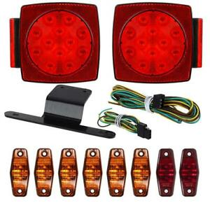 10 under 80 Led Boat Trailer Marine Sealed Light Kit stop Turn Tail Side Marker