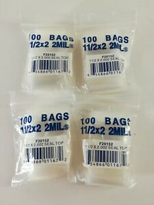 400 1 5x2 2 Mil Poly Plastic Jewelry Bags Zip Reclosable Resealable