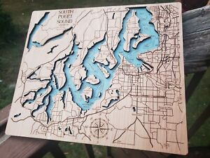 South Puget Sound Topographic Map Laser Cut Engraved Wood 2 Layers