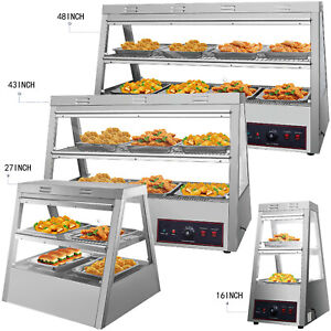 Commercial Food Warmer Pizza Warmer Display Case W Tilt up Doors Pastry Warmer