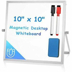 Small Dry Erase White Board For Desk 10 X 10 Magnetic Double sided Easel Kids
