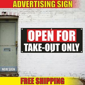 Open For Take out Banner Advertising Vinyl Sign Flag Food Delivery To Go Only 24
