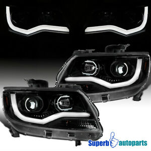 For 2015 2020 Chevy Colorado Led Drl Strip Polished Black Projector Headlights
