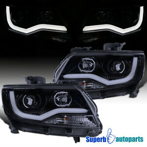 For 2015 2020 15 20 Chevy Colorado Glossy Black Projector Headlights Led Bar