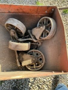 4 Vintage Cast Iron Wheels 8 Height Swivel Industrial Casters 8 Inch Antique