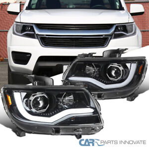 For 15 20 Chevy Colorado Pearl Black Projector Headlights W Led Drl Left Right