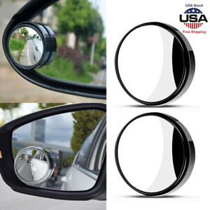 Universal 2pcs Car Wide Angle Convex Rear Side View Blind Spot Mirror Frameless