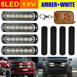 4x 6led Amber white Strobe Lights Car Truck Emergency Hazard Flash Warning Lamp