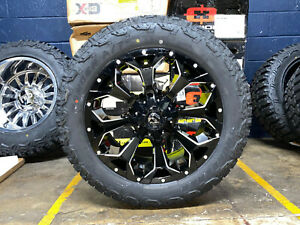 20x9 Fuel Assault Black Wheels 32 At Tires Package 6x5 5 Chevy Silverado 1500