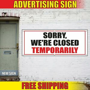 We re Closed Temporarily Banner Advertising Vinyl Sign Flag Shop Store Business