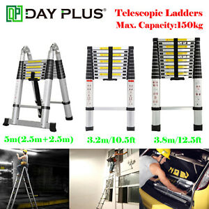 Telescopic Ladders En131 Lightweight Aluminium 10 5 12 5 16 5ft Home Diy Tools