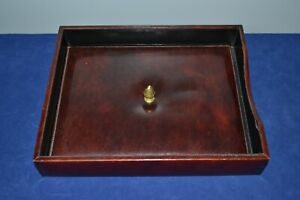Vintage Bosca Hand Stained Hide Letter Desk Office Tray With Acorn Knob Lid