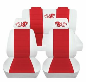 Car Seat Covers Fits 1986 Ford Mustang Convertible Front And Rear Set White Red