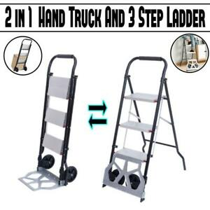 2 in 1 Cart Folding Dolly Collapsible Trolley Push Hand Truck And 3 step Ladder