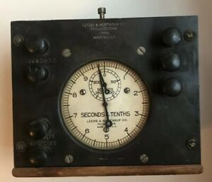 Vintage Leeds And Northrup Timer In Wooden Case Clock Steampunk Look Well Made
