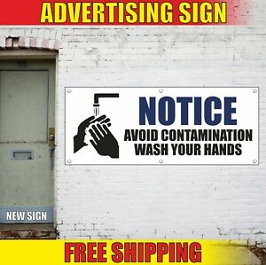 Wash Your Hands Banner Advertising Vinyl Sign Flag Notice Avoid Contamination