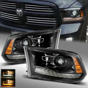 For 09 18 Ram 1500 2500 3500 Full Glossy Black Smoke Drl Projector Headlights