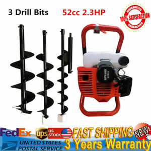 Post Hole Digger 52cc Gas Powered Earth Auger Borer Fence Ground 3 Drill Bits Us