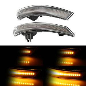 Sequential Led Under Side Mirror Turn Signal Lights Smoke For Ford Focus Mondeo