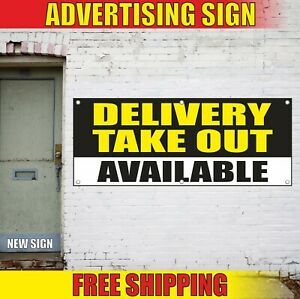Delivery Take Out Banner Advertising Vinyl Sign Flag Service Pick Up Available