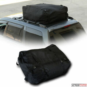 Black Waterproof Rainproof Roof Top Cargo Rack Carrier Bag Storage W Straps S20