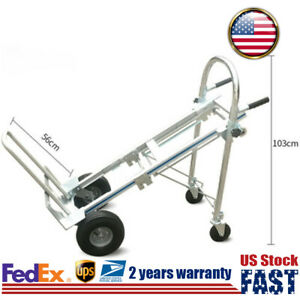 3 In 1 Aluminum Foldable Hand Truck Moving Cart Roll Wheel Goods Carry Tool Us