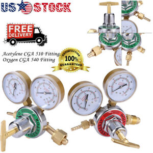 Acetylene Oxygen Gas Welding Regulator Pressure Gauge Fit Solid Brass Set