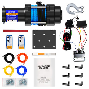 4500lb Electric Winch 12v Atv Offroad Waterproof Boat Synthetic Cable Kit