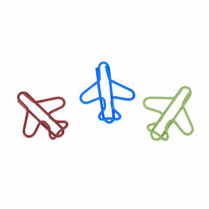 Clearance Lot Of 100 Airplane Shaped Cute Paper Clips Bookmark Blinder Pack