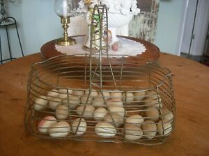 Vintage Primitive Wire Gathering Basket 40 Vintage Wood Wooden Eggs