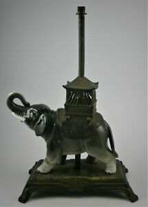 Figural Elephant With Howdah Boudoir Lamp Made In France In The Early 1900 S