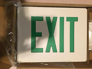 Dual Lite Aluminum Die Cast Exit Double Face Emergency Exit Sign Green New