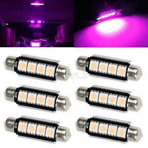 6x Pink Purple 4 smd 41mm Festoon Canbus Led Lights Car Interior Dome Map 12v