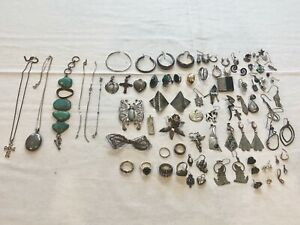 Over 50pcs Of 925 Sterling Silver Mixed Scrap Jewelry Lot