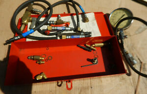 Vintage Snap On Pressure Gage Gauge Kit With Case And Attachments Mt 321b