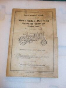 Mccormick Deering F 30 Tractor 1937 Instruction Book Ih Insert Poster Chart