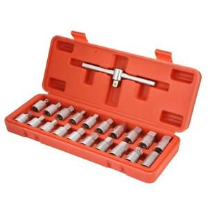 3 8in Oil Drain Plug Sump Slid Able T Handle Socket Wrench Set 21pcs