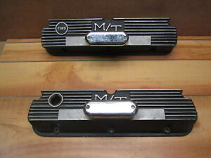 Black Ford 289 302 Vintage Finned Nostalgic Aluminum Valve Covers W Breathers
