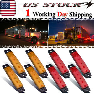 8x Red Amber Led Side Marker Lights For Truck Boat Trailer Auto Clearance Light