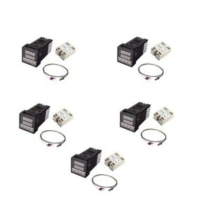 5pcs Ac Pid Temperature Controller And Max 40a Ssr K Thermocouple Set