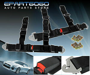 Pair Of 2 Black Jdm 4 Point Harness Racing Seat Belt Latch Buckle Strap Bolts