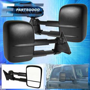 For 99 06 Chevy Silverado Gmc Sierra Manual Extendable Telescope Tow Mirrors Set