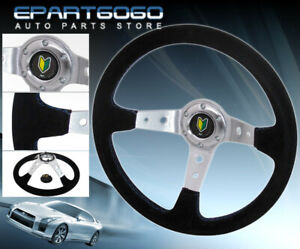 350mm Suede Leather 6 bolt Hole Steering Wheel Jdm Vip Green Yellow Leaf Button