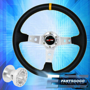 Deep Dish Black Steering Wheel Silver Center Yellow Stitching For 96 00 Civic