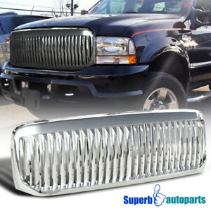 For 1999 2004 Ford F250 F350 Super Duty Excursion Vertical Hood Grille