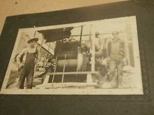 Antique Photo Men Workers Cable Winches Machinery Logging