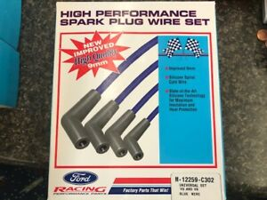 Ford Racing M 12259 c302 Spark Plug Wires Spiral Wound 9mm Blue 45 Deg Boots