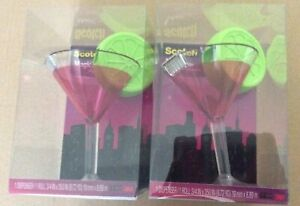 New Lot Of 2 Scotch Magic Tape Dispensers Cosmo Martini Cocktail Glass Lime