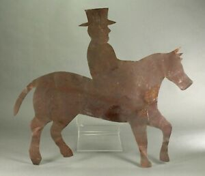 Antique American Folk Art Copper Weather Vane Ornament Horse Rider Orig Paint